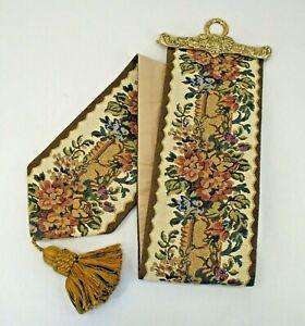 """Vintage Mid Century MCM Tapestry Bell Pull Heavy Brass Holder Tassel 5.25 x 42"""""""