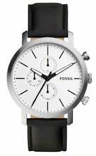 Fossil Herrenuhr Armbanduhr BQ2327IE schwarz silber Lederarmband Chronograph