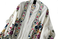 Grand Châle Blanc - Cachemire broderie Pashmina Foulard - Etole 200 X 70
