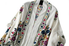 Grand Châle brodé  Blanc Cachemire broderie Pashmina Foulard - Etole 200 X 70