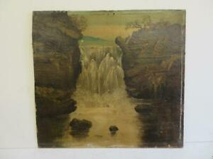really old painting antique oil waterfall landscape