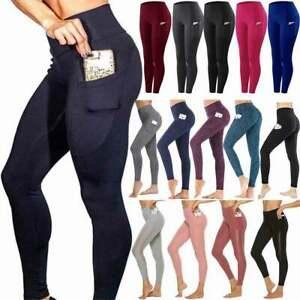 Ladies Yoga Leggings Pockets Fitness Sports Gym Exercise Running Jogging Pants