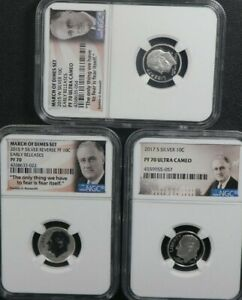 2015-W  2015 P 2017 S 10c SILVER ROOSEVELT March of Dimes NGC ER PF70UC 3 SET