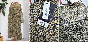 Vintage 70s Style George High Neck Prairie Yellow Daisy Floaty Long Midi Dress B