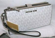 New Michael Kors MK Signature Double Zip Phone Case Wallet Wristlet White Grey