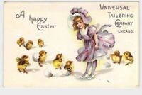 ANTIQUE POSTCARD ILLINOIS CHICAGO EASTER ADVERTISING GIRL CHICKS UNIVERSAL TAILO