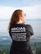 Social Distancing If This Redhead Turn Around Punch You Funny Women Tee Black