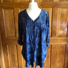 AGB Woman blue button front blouse 3/4 sleeve 2X