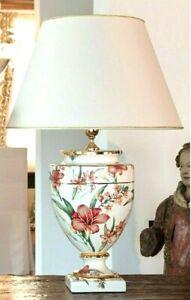 Lampada da tavolo in maiolica italiana ceramica lucida decorata lume da appoggio