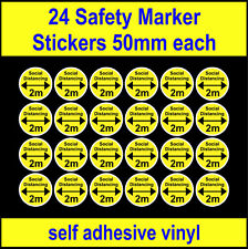 24 Social Distancing Stickers 2 meter spacing safety marker decal adhesive vinyl
