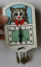 Cat-Kitten Clock w-Pendulum and Weights Google Eyes Made in Germany Plastic-Vtg