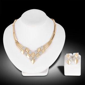 Frauen vergoldete Rhombusform Halskette Ohrringe Strass Schmuckset