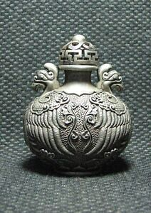 Chinese Copper Exquisite Carve Phoenix Design Snuff Bottle