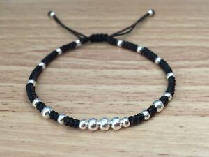 Men's Fashion Brown & Black Silver Beaded Braided Adjustable Shamballa Bracelet