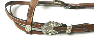 Western Basketweave Leather Headstall w Crystal Accents Medium and Dark
