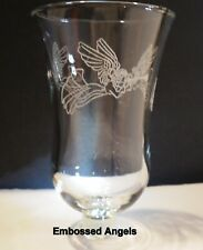 Home Interiors Embossed Angels Clear Votive Cup w/ rubber grommet