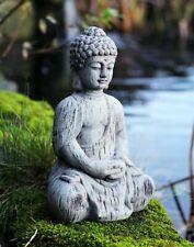Garden Ornament Buddha kneeling Ceramic Drift Wood Effect Outdoor Statue BOXED