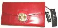 DKNY women leather POLISHED CALF purse with zip large red 100% authenic