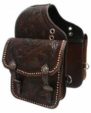 Tooled Dark Oil Leather Saddle Bag w/ Engraved Antique Bronze Conchos & Buckles