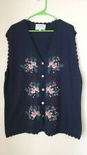 SUSAN BRISTOL New Traditions Hand Embroidered Sweater Vest, 3W With Tags