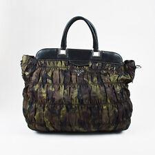 Prada Black Green Brown Nylon Leather Trim Camo Print Tote Bag