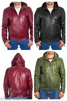 Mens NEW Stylish Real Leather Hooded Bomber Jacket with Quilted Shoulder Detail