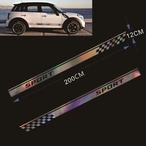 2pcs Car SUV Side Body Colorful Laser Reflective Vinyl Decal Long Stripe Sticker