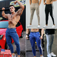 Men's Casual Sports Pants Slim Fit Trousers Running Joggers Gym Sweat Tracksuit