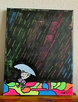 """Here Comes the Sun Cloudy Rain Rainbow Hand Painted Painting 8x10"""""""
