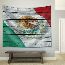 Wall26® - Mexico's Flag on a Wooden background - Fabric Tapestry - 51x60 inches