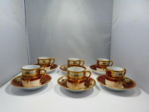 STUNNING SIX RED AND GOLD EPIAG CZECHOSLOVAKIAN ROYAL DEMI TASSE CUPS & SAUCERS