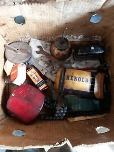 Vintage Job Lot Car Bike Oil Can Light Spanners chain See Pics