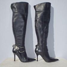 Dune Leather Boots Stiletto Black UK 5 Euro 38 Womens Ladies Pull on Thigh High