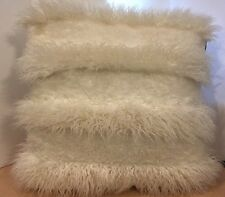 "Cynthia Rowley WHITE High Low Faux Fur 24""Square Throw Pillow"
