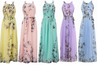 Women's Summer Boho Chiffon Party Evening Beach Dresses Long Maxi Dress Sundress