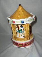 Vintage Mid Century Porcelain Schmid Music Box Carousel Waltz Inside Turns Nice