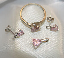 100% Genuine 9ct. White Gold Ring , Earrings and Pendant Set with Pink Stone.