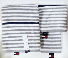 3 PC SET TOMMY HILFIGER GRAY,NAVY,WHITE STRIPE COTTON BATH,HAND TOWEL+WASH CLOTH