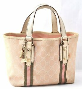 Authentic GUCCI Sherry Line Tote Bag Canvas Leather Light Pink B1030