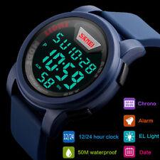 SKMEI Mens Sports Watches Quartz Digital LED Dual Display Wristwatch Waterproof