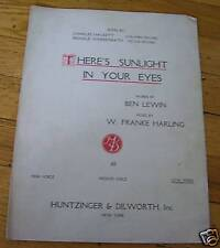 There's Sunlight in Your Eyes Sheet Music 1921