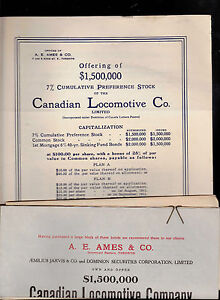 Canadian Locomotive Co 1911 Stock Offering Booklet and Letters Trains Railroad
