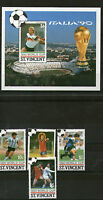 St VINCENT 1990 ITALY FOOTBALL WORLD CUP SET & MINIATURE SHEET MNH (a)