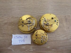QUALITY 3 ANTIQUE GENTS FUSEE POCKET WATCH MOVEMENTS