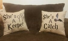 She's a Keeper She's a Catch Throw pillows LGBT Christmas Gifts Harry Potter Fan