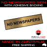 NO NEWSPAPERS - GOLD SIGN - LABEL - PLAQUE w/ Adhesive 80mm x 20mm (8CM x 2CM)