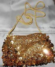 Vtg 60s Ladies Gold Sequin & BANGLE Evening Bag Purse  crossbody  60's BLING