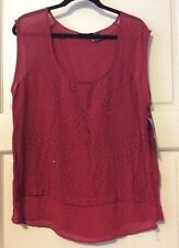 NEW Cute Womens Red XL DKNY Jeans Sheer Blouse $79 Designer L/M Summer Career