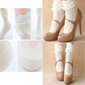 2021 Cute Women Girls Ankle Fancy Retro Lace Ruffle Frilly School Short Socks CA