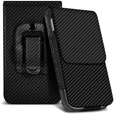 Vertical XL Black Carbon Fibre Belt Pouch Case For Samsung Galaxy S5 Neo